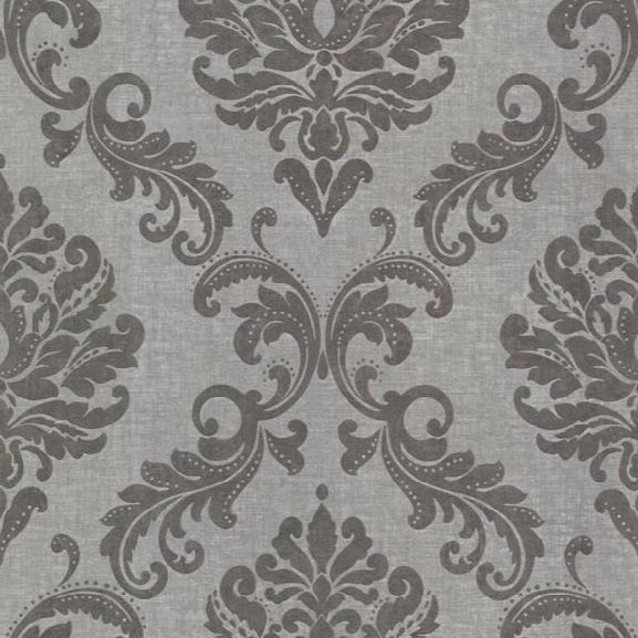 Sebastion Grey Damask Wallpaper Design By Brewster Home Fashions