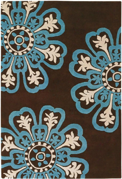 Seedling Collection Hand-tufted Area Rug In Brown, Blue, & Cream Design By Chandra Rugs