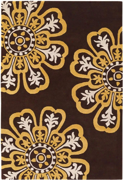 Seedling Collection Hand-tufted Area Rug In Brown, Yellow, & Cream Design By Chandra Rugs