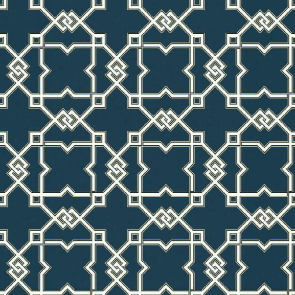 Serenity Now Wallpaper In Dark Blue And Gold Design By York Wallcoverings