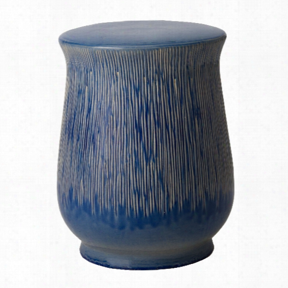 Serrated Chalice Garden Stool/table In Blue Design By Emissary