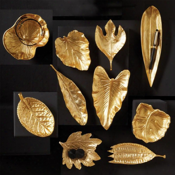 Set Of 10 Large Brass Foliage Dishes Design From Tozai