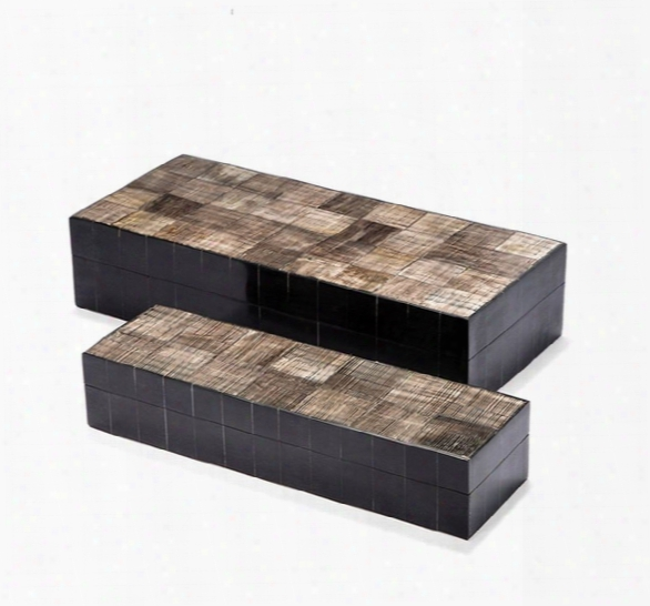 Set Of 2 Asher Carved Boxes In Black Design By Interlude Home