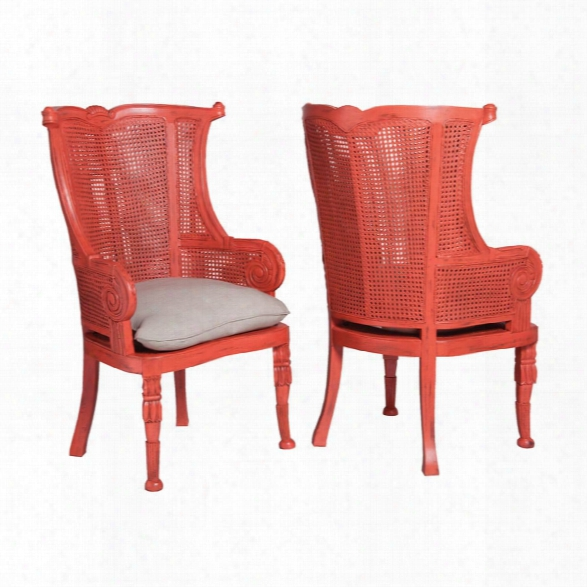 Set Of 2 Caned Wing Back Chairs Design By Burke Decor Home