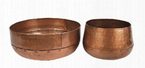 Set Of 2 Decorative Hammered Iron Bowls In Antique Copper Finish Design By Bd Edition