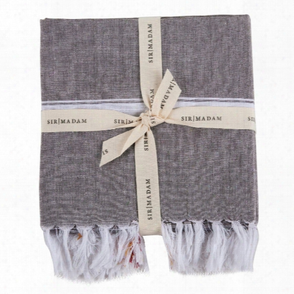 Set Of 2 Found Cotton Towels In Cafe & Burgundy Design By Sir/madam