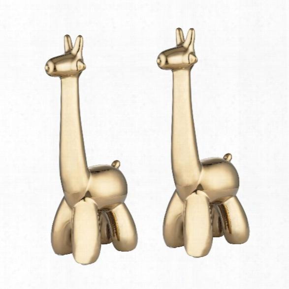 Set Of 2 Gold Giraffe Sculptures Design By Lazy Susan