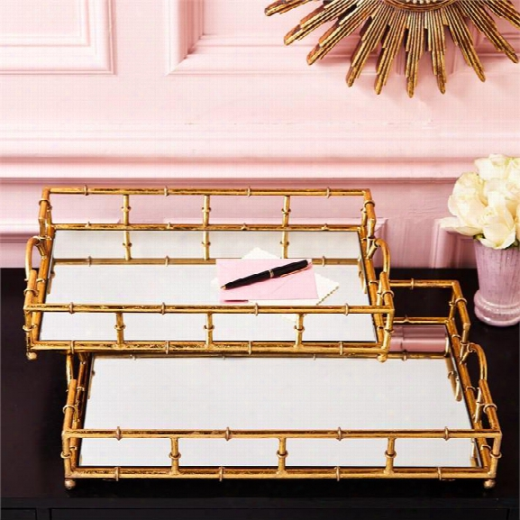 Set Of 2 Golden Elegance Mirrored Glass Trays Design By Twos Company