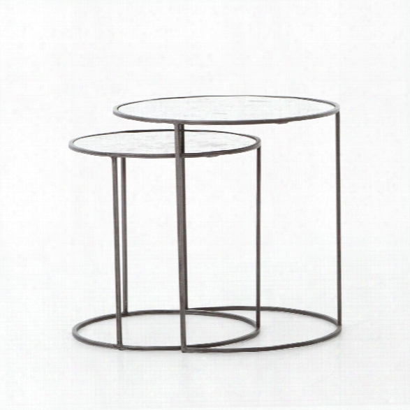 Set Of 2 Iron & Glass Cylinder Tables In Gunmetal