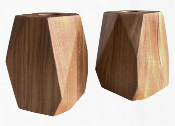 Set Of 2 Large Master's Collection Prism Teak Tea Light Design By Selamat