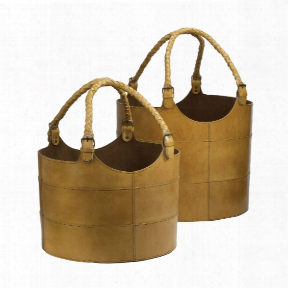 Set Of 2 Leather Buckets In Caramel Design By Lazy Susan