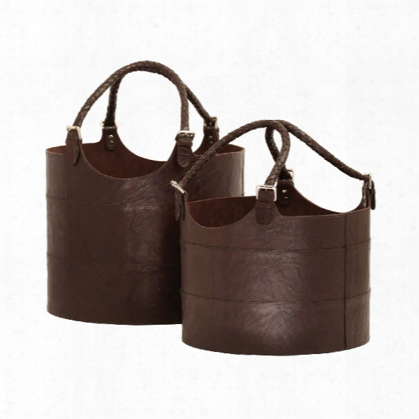 Set Of 2 Leather Buckets In Espresso Design By Lazy Susan