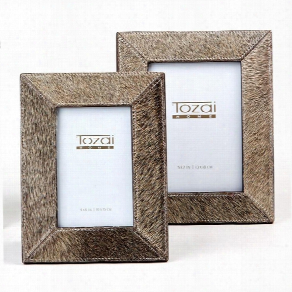 Set Of 2 Natural Cowhide Picture Frames In Grey Design By Tozai