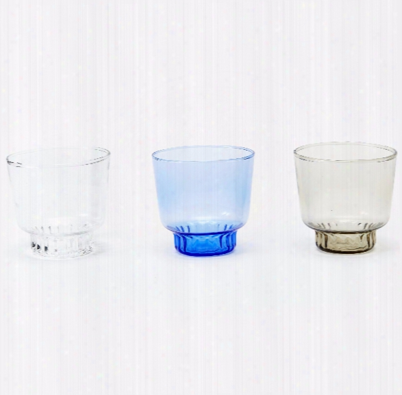 Set Of 2 Ridge Kitchen Small Glasses In Various Colors Design By Areaware