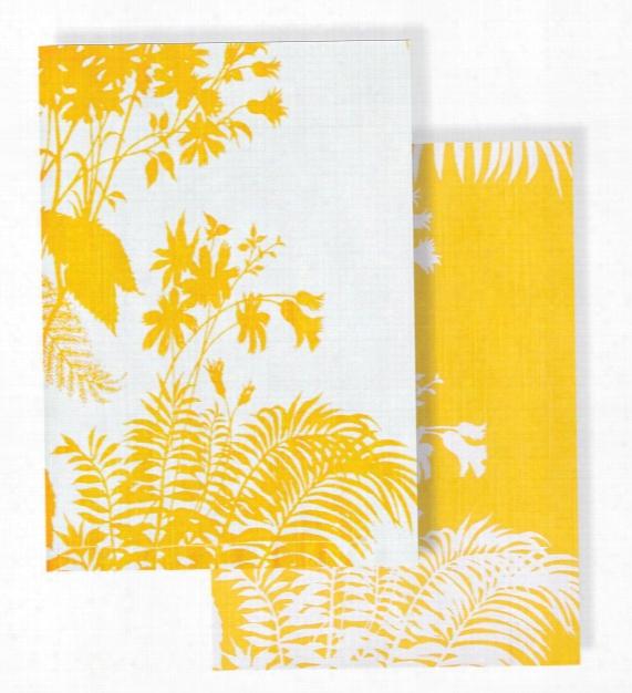 Set Of 2 Shadow Floral Mustard Tea Towel Design By Florence Broadhurst