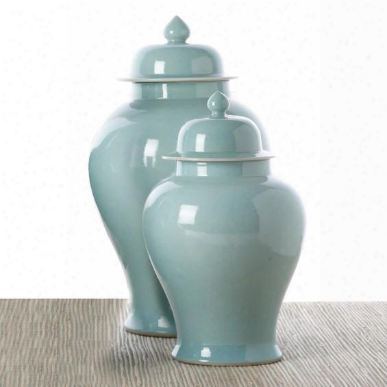 Set Of 2 Turquoise Temple Jar Porcelain Design By Tozai Home