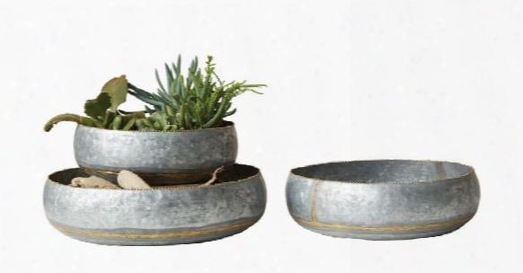 Set Of 3 Decorative Galvanized Metal Bowl Design By Bd Edition