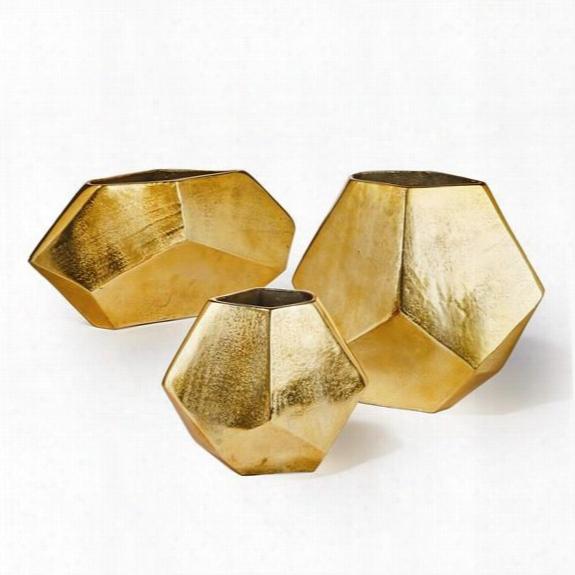 Set Of 3 Golden Diamond Shaped Vases Design By Tozai