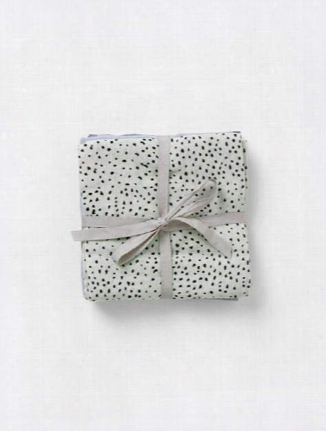Set Of 3 Muslin Squares Cloth Diapers In Mint Dot Design By Ferm Living