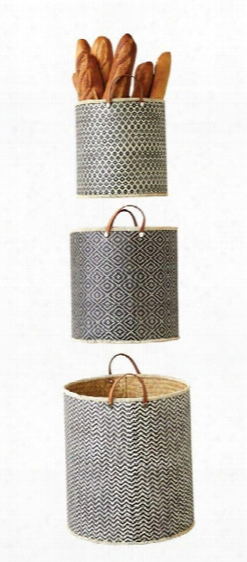 Set Of 3 Palm Leaf Laundry Baskets W/ Leather Handles Design By Bd Edition