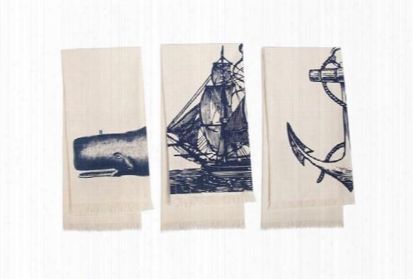 Set Of 3 Seafarer Hand Towels In Inkk Design By Thomas Paul
