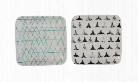 Set Of 3 Square Stoneware Plates Design By Bd Edition