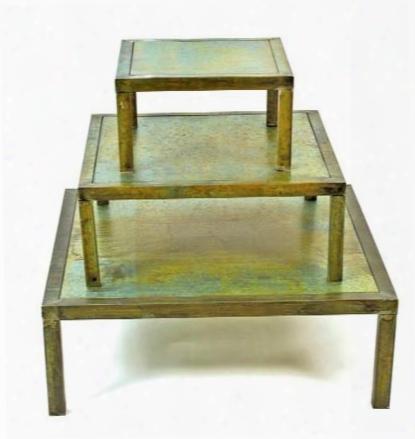 Set Of 3 Square Verdigris Tables Design By Skalny