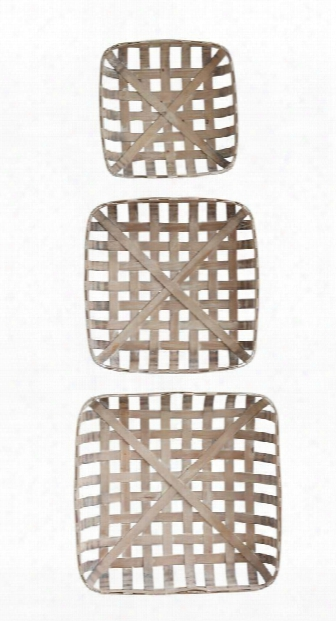 Set Of 3 Square Wood Baskets Design By Bd Edition