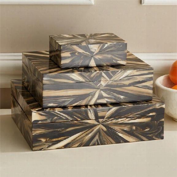 Set Of 3 Sunburst Nesting Boxes Design By Tozai