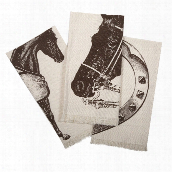 Set Of 3 Thoroughbred Hand Towels In Java Design By Thomas Paul