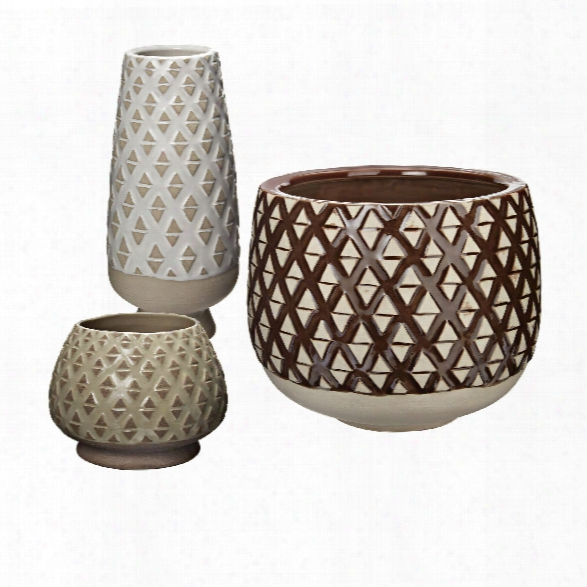 Set Of 3 Two Tone Lattice Pots Design By Lazy Susan
