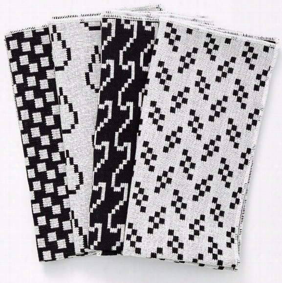 Set Of 4 Bitmap Textiles Napknis In Black & White Design By Areaware