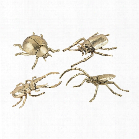 Set Of 4 Hand Forged Gold Insects Design By Lazy Susan