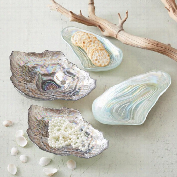 Set Of 4 Lustrous Shell Plates Design By Twos Company