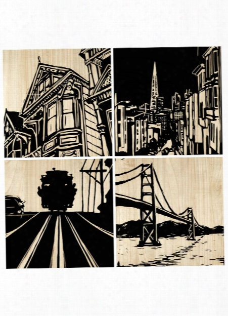 Set Of 4 San Francisco City Panel Design By Selamat