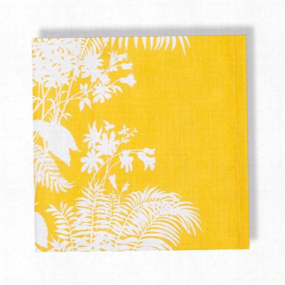 Set Of 4 Shadow Floral Mustard Napkins Design By Florence Broadhurst
