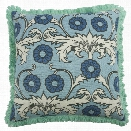 "Scroll 22"" Linen/Cotton Pillow in Sky design by Thomas Paul"