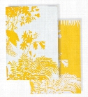 Set of 2 Shadow Floral Mustard Tea Towel design by Florence Broadhurst