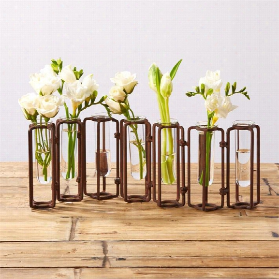Set Of 7 Small Rust Hinged Flower Vases Design By Tozai