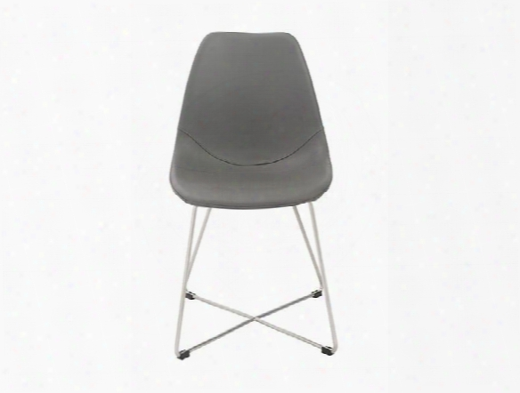 Set Of Four Anahita Side Chairs In Grey Leatherette Design By Euro Style