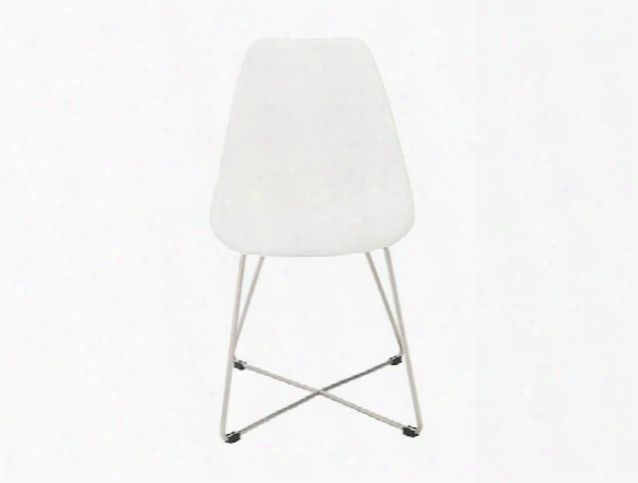 Set Of Four Anahita Side Chairs In White Leatherette Design By Euro Style