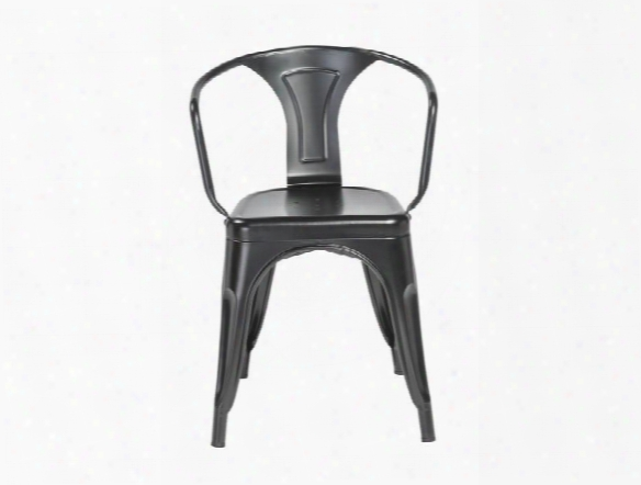Set Of Four Corsair Arm Chairs In Matte Black Design By Euro Style