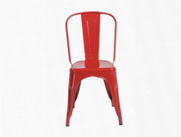 Set Of Four Corsair Side Chairs In High Gloss Red Design By Euro Style