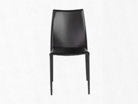 Set Of Four Dalia Side Chairs In Black Leather Design By Euro Style