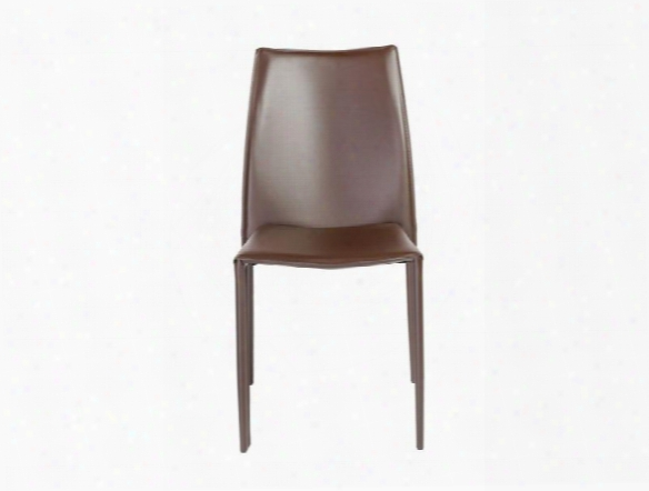 Set Of Four Dalia Side Chairs In Dark Brown Leather Design By Euro Style