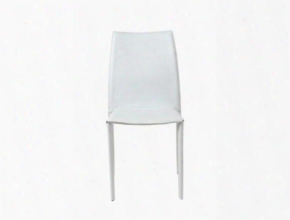 Set Of Four Dalia Side Chairs In White Leather Design By Euro Style