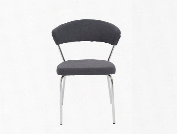 Set Of Four Draco Side Chairs In Grey Fabric Design By Euro Style