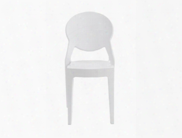 Set Of Four Igloo Side Chairs In Glossy White Design By Euro Style