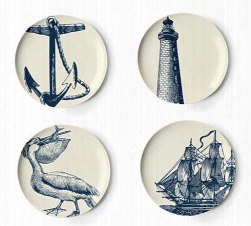 Set Of Four Scrimshaw Dessert Plates Design By Thomas Paul