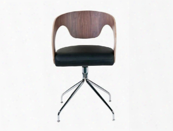 Set Of Two Bernice Swivel Chair In Walnut & Black Design  By Euro Style